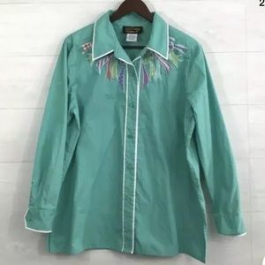 Bob Mackie Womens Large Shirt Green Embroidered
